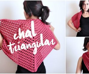 💖Chal triangular tejido a crochet 😍 /paso a paso muy fácil 👆🏼
