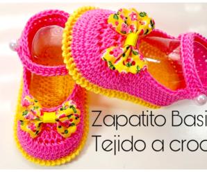 HERMOSO ZAPATITO BASICO A CROCHET PARA BEBE